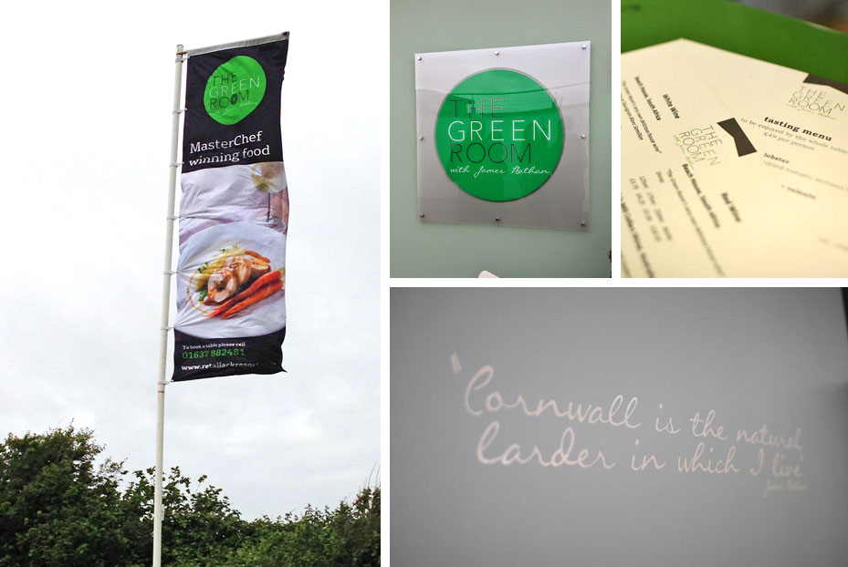 Green Room Restaurant Branding Cornwall