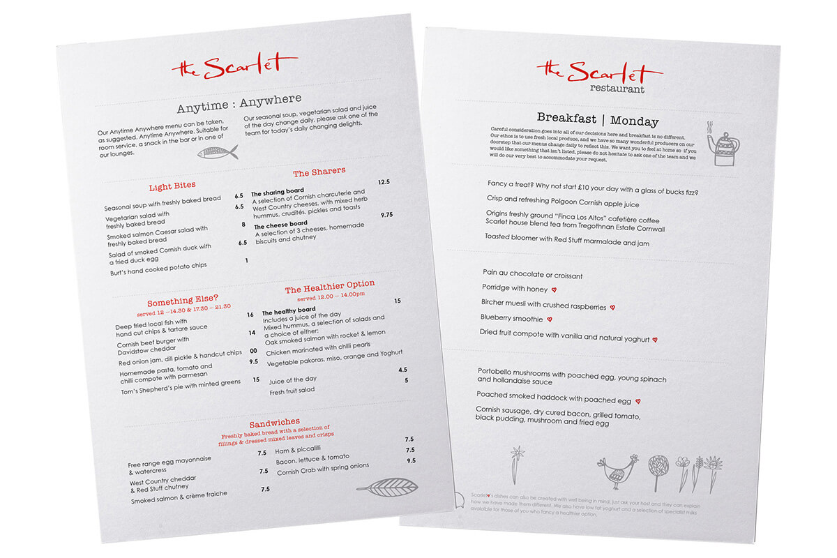 Scarlet Hotel Restaurant Menu Design - The Scarlet Hotel