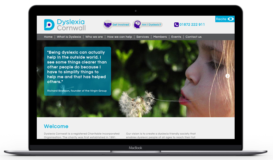 Dyslexia Cornwall Website Mockup